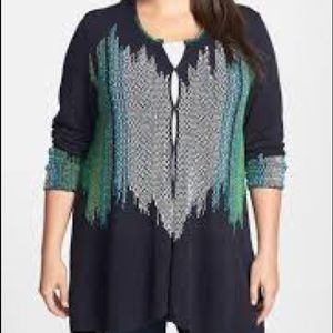Nic+Zoe Navy Knit Cardigan 2X Multi Colour Stitch